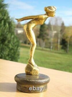 Mascotte automobile femme plongeuse Albert bronze + bouchon radiateur, art-déco