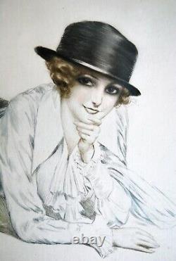 Maurice MILLIERE pointe sèche couleurs de luxe débXXe JEUNE FEMME ALLONGEE cadre