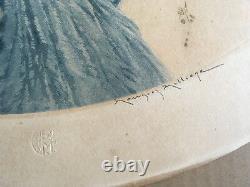 Maurice Millière Gravure originale Jeune femme au nid signée Art Déco 1932