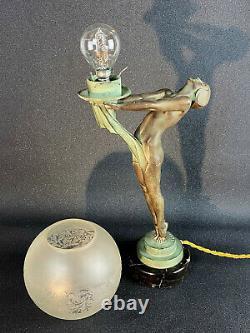 Max Le Verrier / Lampe D Epoque Art Deco / Danseuse Femme Nue / La Clarté 42 CM