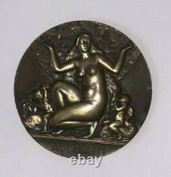 Médaille Bronze APHRODITE Art Deco Signée M. Delannoy 1932 Femme Nue Erotique