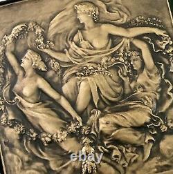Medaille Plaque En Bronze Lamourdedieu Art Nouveau Art Deco Femme Nue Floreal