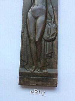 Médaille en bronze art déco TURIN femme nue