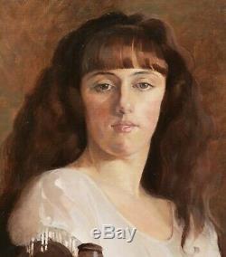 Michel DUBOST Lyon tableau portrait Jeny ELLIA jeune femme fille Art Déco 1920