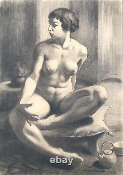 Michel Frechon Portrait De Femme Nue Fusain Original 1927 Art Deco Rouen
