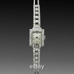 Montre Dame Art déco en platine 1930 avec Diamants. Mécanique