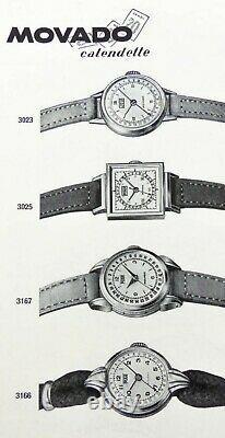 Montre MOVADO calendette en acier vers 1950 calendrier Art Déco Vintage