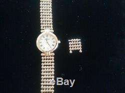 Montre Michel Herbelin Femme 16863. B plaqué or bracelet perlé année 70