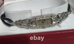 Montre Platine Diamants 1920's Antique Diamond& Platinium Art Deco Ladies Watch