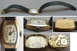 Montre de femme en ARGENT massif + OR silver gold watch ART DECO