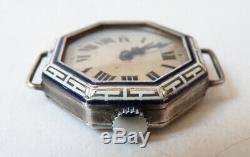 Montre de femme en ARGENT massif + émail enamel silver watch ART DECO vers 1925