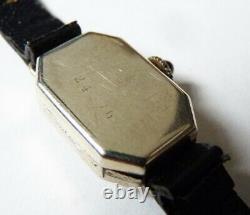 Montre femme OR blanc + diamants mécanique ART DECO gold watch diamonds