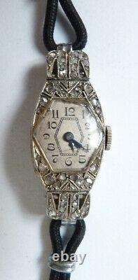 Montre femme OR blanc + diamants mécanique ART DECO platinum watch diamonds