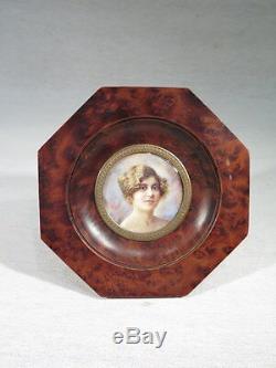 Octave Guillonnet Ancien Cadre Peinture Miniature Femme Epoque Art Deco 1930