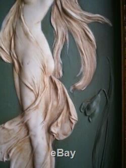 PANNEAU CERAMIQUE ART NOUVEAU DECOR FEMME FLEUR DECO 1900 BISCUIT St WEGWOOD