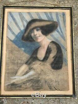 PORTRAIT DE FEMME ART DECO circa 1930 TABLEAU Nabis mode Paul POIRET
