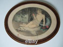 Paire Gravure Femme Nue Art Deco Maurice Barle/epreuve Artiste/lithography