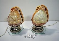 Paire de lampes coquillage conque sculpté en camé femme antique