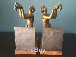 Paire de serre livres Art Déco femmes nues par Jacques Limousin 21935