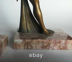 Paire de serre livres ancien femmes nues ART-DECO signé LIMOUSIN métal patiné
