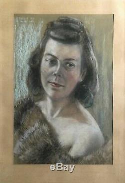 Pastel Portrait Jeune Femme avec Fourrure Érotique Um 1940 Art Déco 63