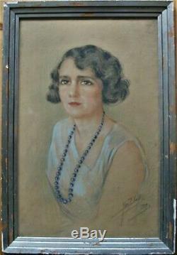 Pastel-yves Diey-jeune Femme-portrait-art Deco-annees 30-annee Folle