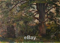 Peinture Ancienne Huile signé Smith Paysage, Femme, Parc, Arbre, Banc