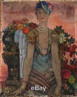Peinture Art Déco Moderne Femme aux Fruits Monogrammée