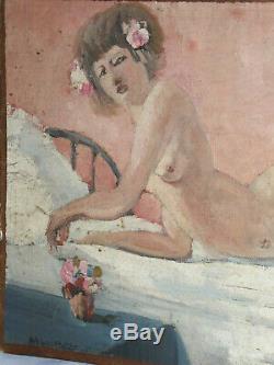 Peinture erotique Huile Sur Toile Epoque 1915 Jeune Femme Nue Odalisque Art Deco