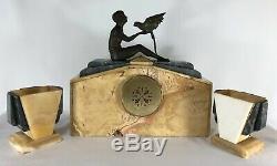 Pendule Art Deco 1930 Cassolette Fexacta Metra Cherbourg Femme Perroquet Z114