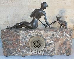 Pendule art déco femme ourson onyx marbre clock