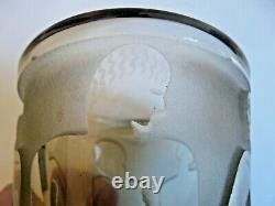 Petit Vase Verre Fume Decor Femmes Sable Grave Roue Bayel Art Deco 1930/40