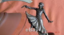 Petite Lampe Sculpture Femme Bronze Argente Art Deco/socle En Marbre / Lampe