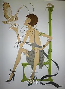 Philippe Henri Noyer lithographie signée femme aux Oiseaux Ecole de Paris Lyon