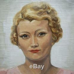 Pierre Abadie Landel Tableau Portrait Femme Blonde Robe Rose Peintre Art Deco