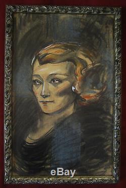 Pierre Abadie-landel Portrait Femme Blonde Dessin Pastel Tableau Art Deco France