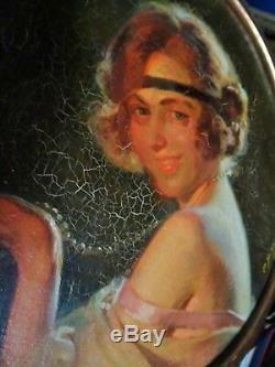 Pierre Bonnaud 1865 /1930 Portrait Femme / Art Deco / Huile