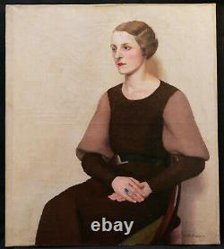 Pierre Maurice ROBIN tableau huile toile portrait jeune femme assise Art Déco