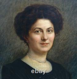 Pierre Petit Portrait de femme Mme Maudet HsT epoque Art Déco