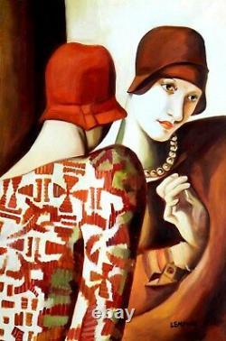 Portrait art deco de 2 femmes avec chapeau d'apres Lempicka tableau peinture hui