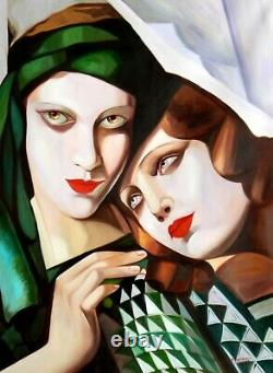 Portrait art deco de 2 femmes d'apres Lempicka tableau peinture hui