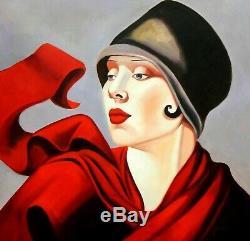 Portrait art deco de femme avec chapeau d'apres Lempicka tableau peinture hui
