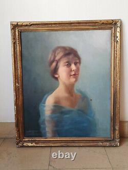 Portrait de femme Art déco par Anne-Marie Bertrand, 1927