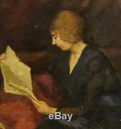 Portrait de femme à la lecture Huile/Toile début XXème siècle Art Déco