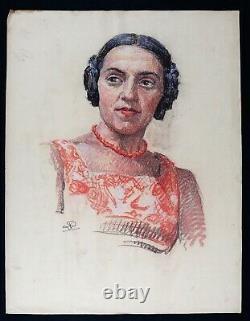 Portrait de jeune femme au collier circa 1930 pastel ART DECO monogramme MODE