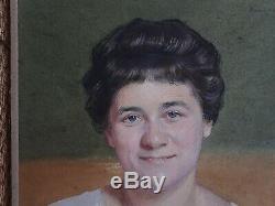 Portrait femme réaliste art déco signé Marcel Baschet grand portraitiste pastel