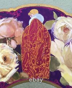 Projet Éventail Art Déco Peint Main Tissu Femme Roses Vicente Ballester Valencia