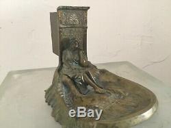 Pyrogène portes allumettes femme arabe orientalisme en bronze