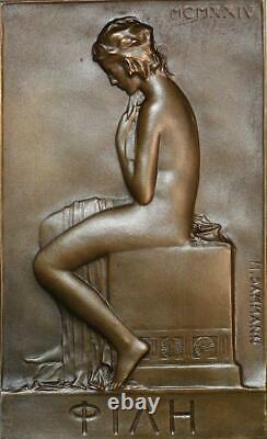 R2188 Rare Médaille Plaque Uniface Art Déco Femme Toilette 1924 Dammann SUP