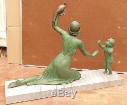 RARE grand statue art deco régule socle marbre enfant femme oiseaux signé melaut